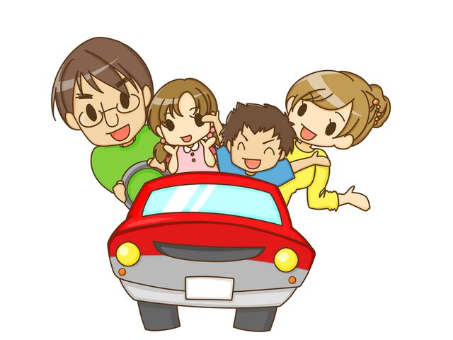 家族でドライブなイラスト