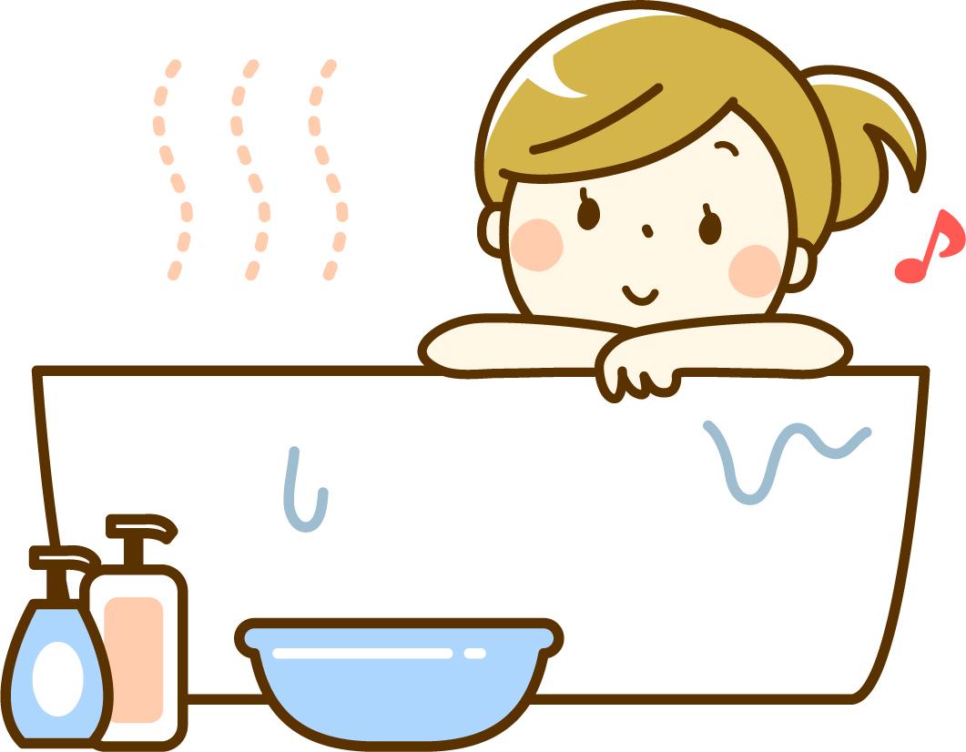 入浴する女性のイラスト